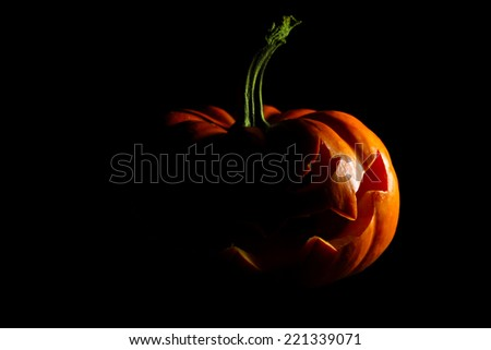 Halloween jack o' lantern silhouette - stock photo