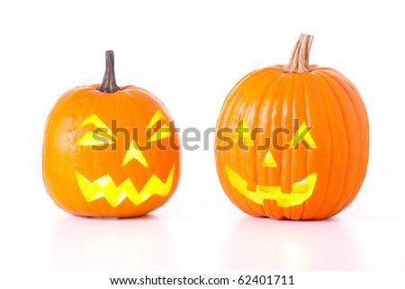 Halloween Jack O Lanterns isolated on white background. - stock photo
