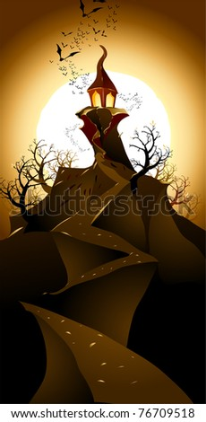 Halloween landscape. Raster version. - stock photo
