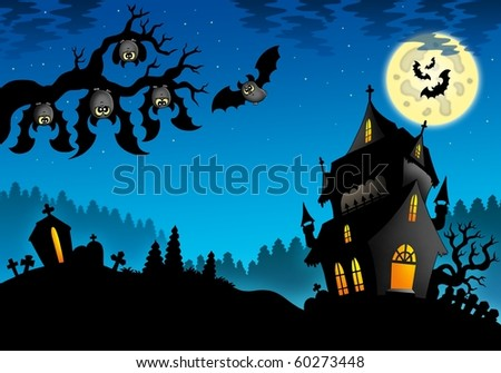 Halloween landscape with mansion - color illustration.
