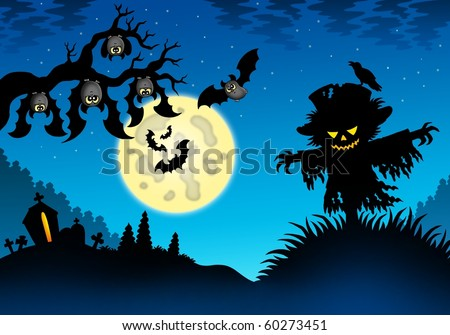 Halloween landscape with scarecrow - color illustration.