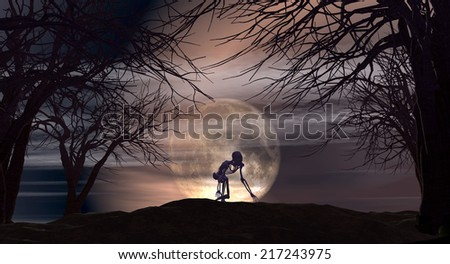 Halloween landscape with spooky skeletons against a moonlit sky