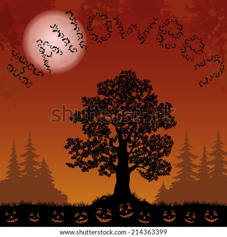 Halloween landscape with the inscription of bats, trees silhouettes, moon and pumpkins. Element of this image furnished by NASA, www.visibleearth.nasa.gov. - stock photo