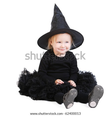 Halloween little witch isolated on white background - stock photo