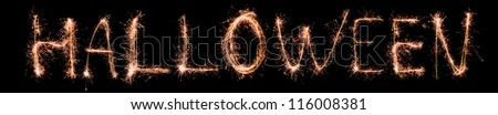 Halloween made of sparkles. Sparkles words collection. - stock photo