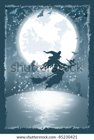 halloween magic background - stock photo