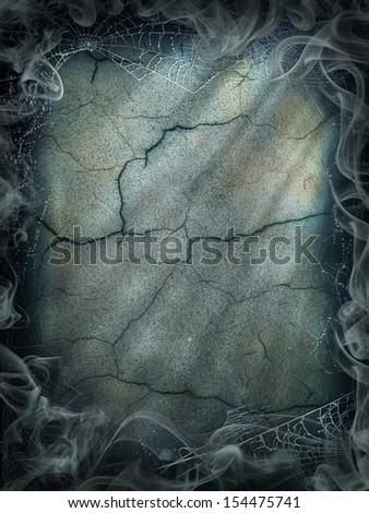 Halloween magic smoke background magical dark cobweb - stock photo