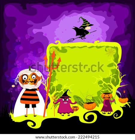 halloween magical frame - stock photo