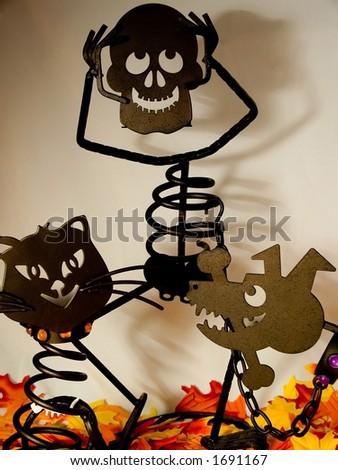 Halloween man and pets - stock photo