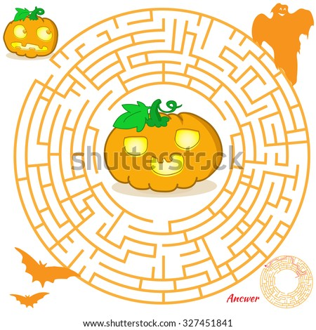 halloween maze game for kids visual game for preschool children maze puzzle with solution - Halloween Quiz For Kids