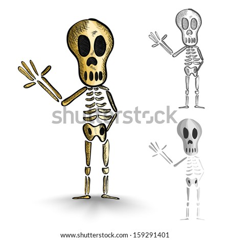 Halloween Monsters isolated spooky hand drawn human skeletons set. - stock photo