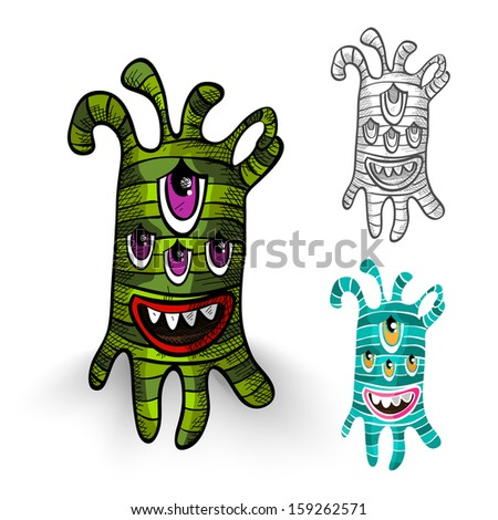 Halloween Monsters isolated spooky hand drawn weird creatures set.  - stock photo