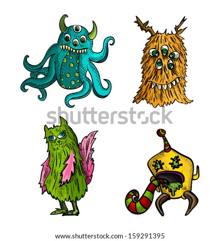 Halloween Monsters isolated spooky hand drawn weird freak creatures set. - stock photo