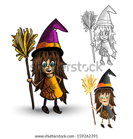 Halloween Monsters isolated spooky hand drawn witches set. - stock photo
