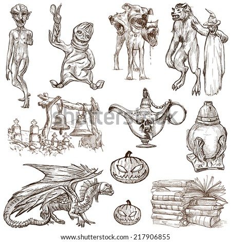 Halloween (Monsters, Magic and Fairy Tales) - Collection (no.5) of an hand drawn illustrations. Full sized hand drawn illustrations drawing on white. - stock photo