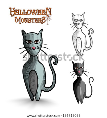 Halloween monsters spooky cartoon black cats set.