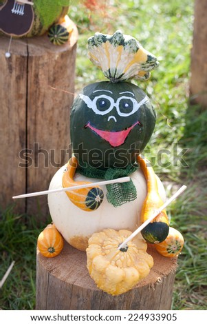 Halloween Musician made with different types of pumpkins - stock photo