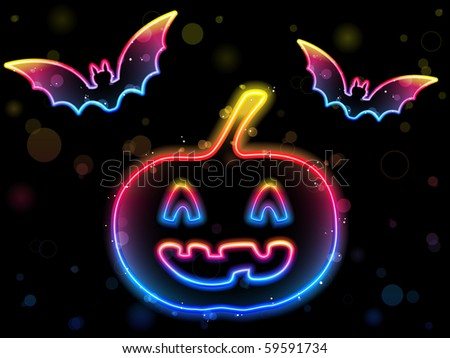 Halloween Neon Background with Pumpkin and Bats - stock photo