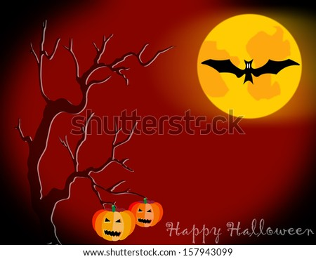 Halloween night background and pumpkins