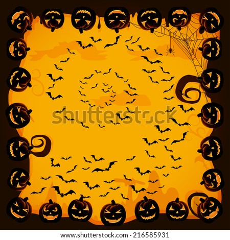 Halloween night background with bats and pumpkins, illustration. - stock photo