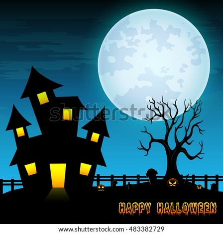 Halloween night background with creepy castle and dry tree in graveyard