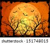 Halloween night background with full Moon and pumpkins, illustration - stock vector