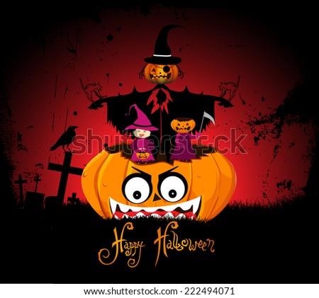 halloween night background with pumpkin - stock photo