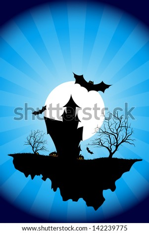 Halloween night background with tree house moon bat and rays