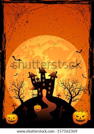 Halloween night, Scary House on the moon background, illustration. - stock photo