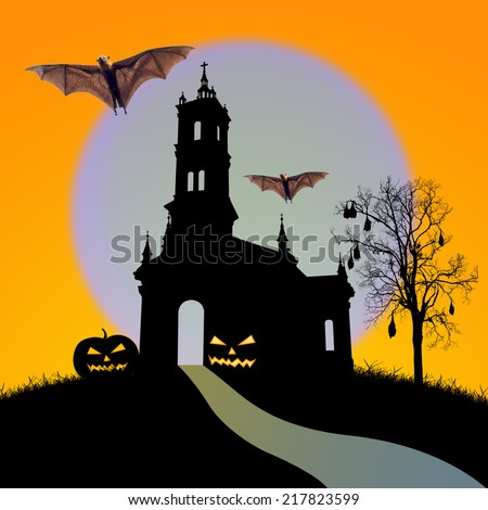 Halloween night,  silhouette of church and black dead tree with bat on the moon background,useful for some Halloween concept