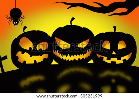 Halloween night : three lantern pumpkins in black silhouette