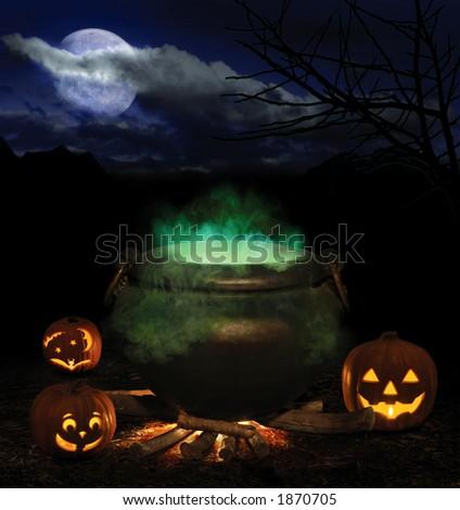 Halloween night with bubbling iron cauldron, orange pumpkin jack-o-lanterns and a full moon - stock photo