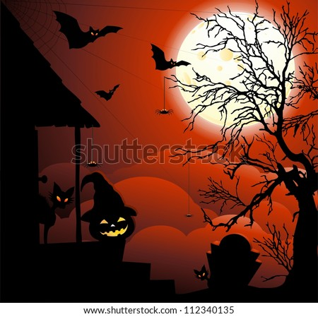 Halloween Night with Moonlight - stock photo