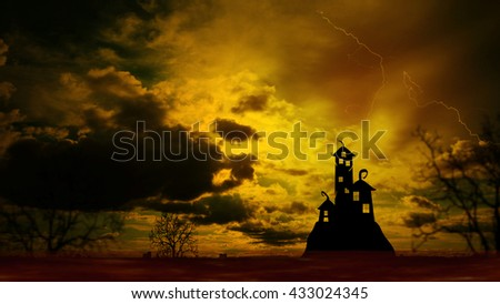 Halloween Nightly Background with castle silhouette on the hill against dramatic clouds sky.