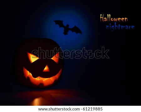 Halloween nightmare with glowing head & bat - stock photo