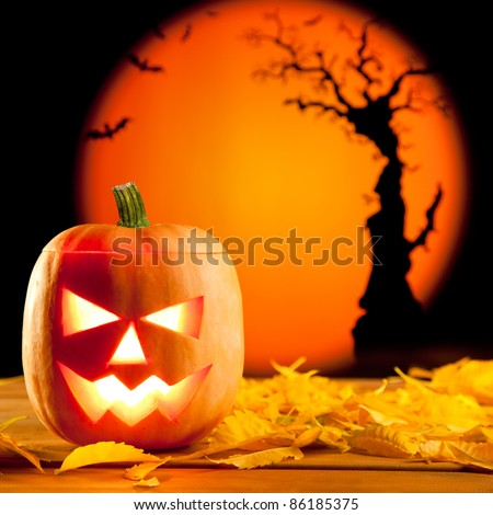 Halloween orange pumpkin lantern with autumn leaves - stock photo