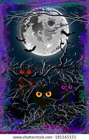 Halloween Owl Moon Background - stock photo