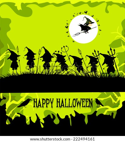 halloween party background with children trick or treating - stock photo