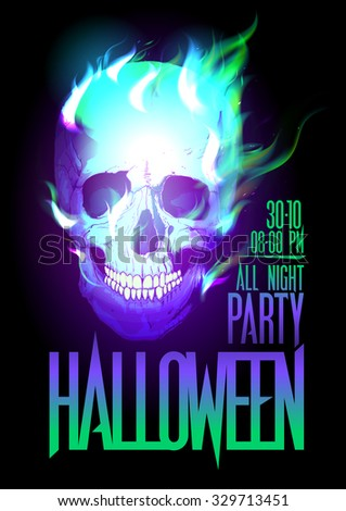 Halloween party design with skull in flames, rasterized version. - stock photo