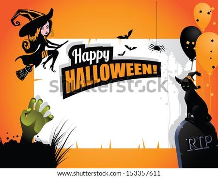 Halloween party invitation background. jpg - stock photo