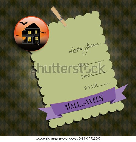 Halloween Party invitation. Green note,with  haunted house. Raster illustration. - stock photo