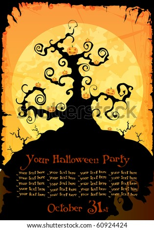 Halloween party invitation or background with black tree and pumpkins - stock photo