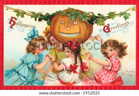 Halloween Party - 4 Little Girls - a 1912 vintage illustration - stock photo