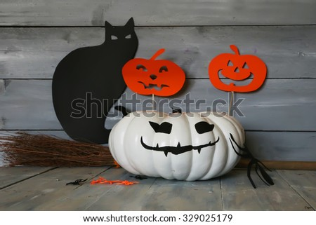 Halloween photo of white and black cat - stock photo