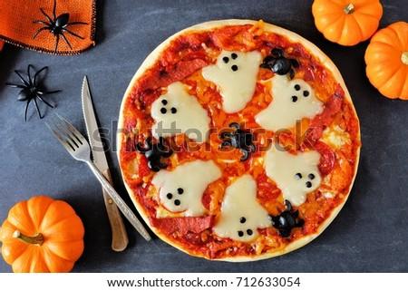Halloween Pizza Ghosts Spiders Above Scene Stock Photo 712633054 ...