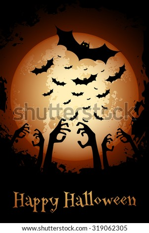Halloween Poster. Grungy Party Background. Holiday Card. - stock photo