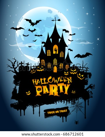 halloween poster night background with creepy castle and pumpkins illustration greeting card halloween - Halloween Night Party