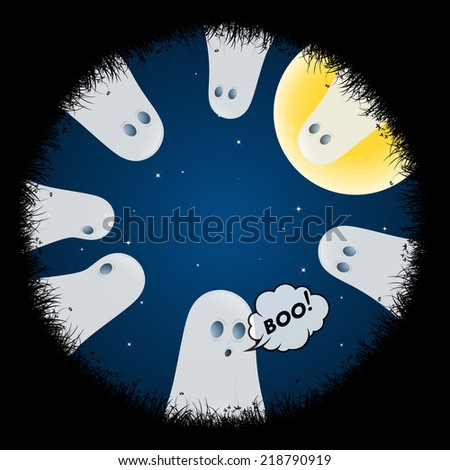 Halloween Poster with Ghosts - stock photo