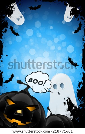 Halloween Poster with Ghosts, Bats and Pumpkins - stock photo