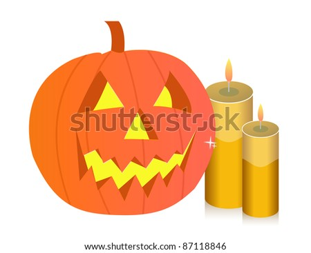 Halloween pumpkin and candles illustration
